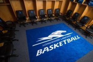 Longwood University school locker room logo rug